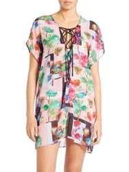 Clover Canyon Lace Up Coverup Plastic Fl