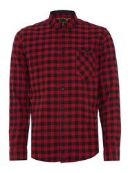 Merc Long Sleeve Square Check Shirt Red