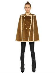 Balmain Cotton Corduroy And Faux Shearling Cape