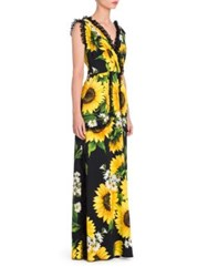 Dolce And Gabbana Lace Ruffle Sunflower Print Gown