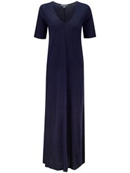 Pure Collection Lydia Luxury Linen Maxi Dress Marine Blue