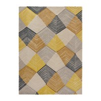 Harlequin Rhythm Rug Saffron Grey Yellow