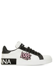 Dolce And Gabbana 20Mm Portofino Love Leather Sneakers White
