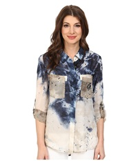 Miraclebody Jeans Christa Collared Blouse W Body Shaping Inner Shell Indigo Women's Blouse Blue