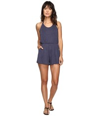 Lucky Brand Festival Solid Romper Cover Up Indigo Women's Jumpsuit And Rompers One Piece Blue