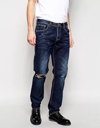 Asos Straight Jeans With Rips Blue