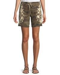 Johnny Was Briar Embroidered Linen Shorts Plus Size Camo