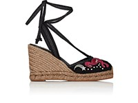 Marc Jacobs Women's Canvas Ankle Tie Wedge Espadrilles Black