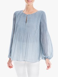 Max Studio Long Sleeve Pleated Print Top Tofu Blue