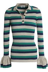 Baum Und Pferdgarten Metallic Striped Ribbed Knit Sweater Neutral