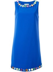 Moschino Mirror Embroidered Shift Dress Blue