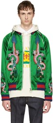 Gucci Green Embroidered Silk Bomber Jacket