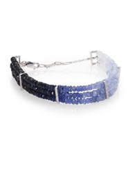 Meira T Sapphire And 14K White Gold Ombre Three Row Beaded Bracelet