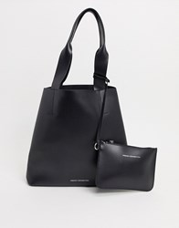 French Connection Leather Tote Bag With Pouch Black