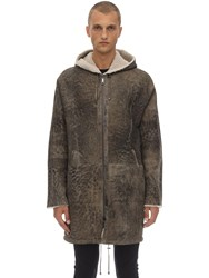Giorgio Brato Oversize Reversible Shearling Parka Brown Grey