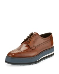 Prada Spazzolato Creeper Brogue Platform Shoe Light Brown