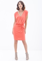 Forever 21 Knotted Surplice Sheath Dress Neon Coral