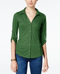 Almost Famous Juniors' Ribbed Panel Utility Top Olive