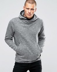 Jack And Jones Hooded Sweat With Cross Over Neck Detail Grey