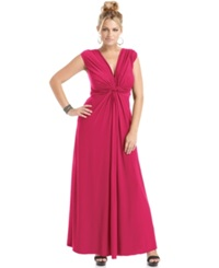 Love Squared Plus Size Sleeveless Knotted Maxi Dress Berry