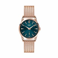 Henry London Ladies' Stratford Watch With Stainless Steel Mesh Bracelet Green Rose Gold