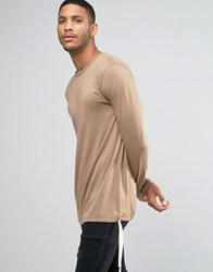 Asos Longline Long Sleeve T Shirt With Drawstring Hem Detail Tan Brown