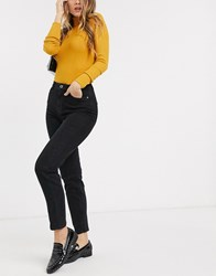 Pieces High Waist Mom Jean In Black