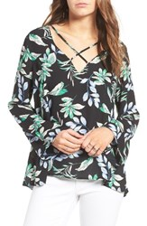 Lush Women's Cross Front Blouse Black Blus
