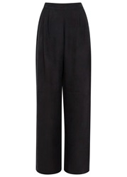 J. Lindeberg Reina Black Wide Leg Brushed Satin Trousers