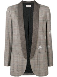 Zadig And Voltaire Star Print Check Blazer Brown