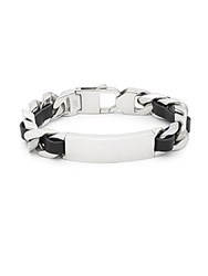 Saks Fifth Avenue Stainless Steel And Leather Bracelet Silver