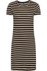 Enza Costa Striped Pima Cotton Jersey Mini Dress Beige