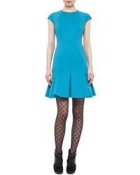 Akris Punto Cap Sleeve Flounce Hem Dress Turquoise