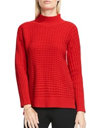 Vince Camuto Turtleneck Popcorn Stitch Sweater Red
