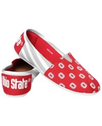 Forever Collectibles Women's Ohio State Buckeyes Canvas Stripe Shoes Red White