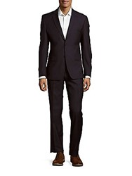 Versace Wool And Silk Blend Solid Suit Blue