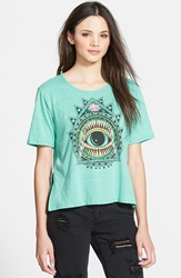 Living Doll Evil Eye Graphic High Low Tee Juniors Sea Foam