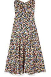 Veronica Beard Annika Floral Print Silk Blend Jacquard Midi Dress Blue