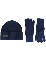 Dsquared2 Ribbed Hat And Gloves Set Blue