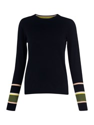 Whistles Stripe Cuff Crew Neck Knit Navy