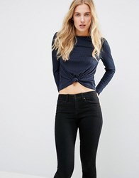 First And I Knot Front Crop Top Total Eclipse Navy