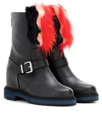 Fendi Fur Embellished Leather Ankle Boots Black