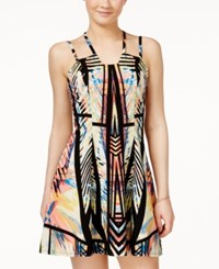 Material Girl Juniors' Printed Halter Dress Only At Macy's Black Combo