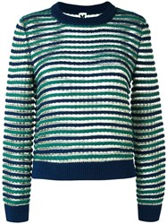 M Missoni Round Neck Striped Jumper Blue
