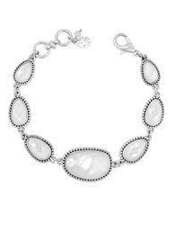 Lucky Brand California Gardens Mother Of Pearl And Semi Precious Rock Crystal Bracelet Silver