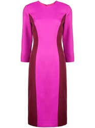 Milly Colour Block Fitted Dress Pink And Purple