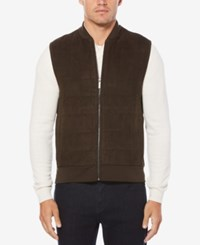 Perry Ellis Men's Faux Suede Quilted Vest Chocolate