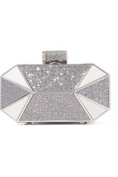 Halston Heritage Lame And Glittered Leather Clutch Silver