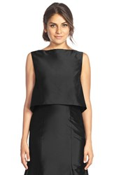 Women's Monique Lhuillier Bridesmaids Taffeta Bateau Neck Top Black