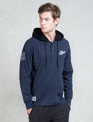 The Hundreds Blue L S Bench Hooded Henley